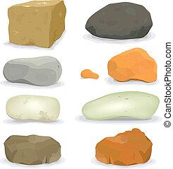 stenen, rotsen, set