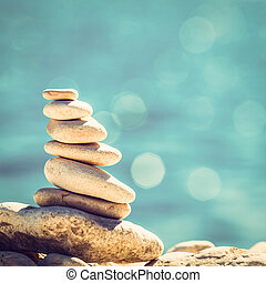 stenen, steentjes, ouderwetse , evenwicht, achtergrond, stapel