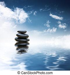 stenen, water, op, zen