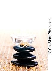 stenen, zen, bad, spa, evenwicht, zout