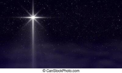 ster, voorbijgaand, wolken, kerstmis