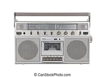 stereo, oud, draagbaar, af)knippen, speler, cassette, steegjes