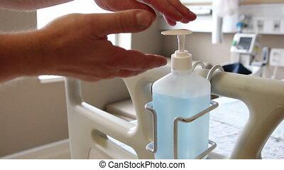 sterilisatie, ziekenhuis, handen