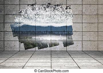 sterretjes, stad, boven, muur, display, het tonen