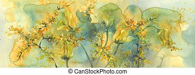 sterven, sear, gele, watercolor, achtergrond, tulpen, bloemen