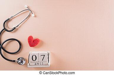 stethoscope, pastel, dag, hart, arts, aanzicht, medisch, rood, houten, kalender, concept., bovenzijde, achtergrond., gezondheid, wereld