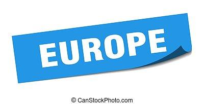 sticker., blauw vierkant, europa, peeler, meldingsbord