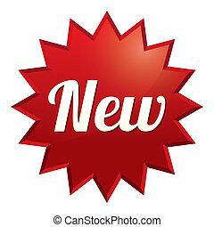 sticker., offer., bijzondere , nieuw, tag., rood, pictogram