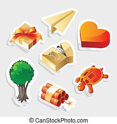 sticker, pictogram, diversen, set