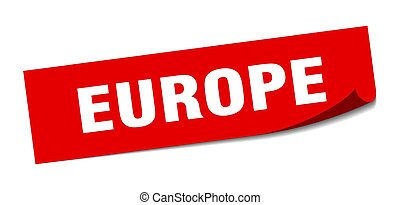sticker., plein, europa, peeler, rood, meldingsbord