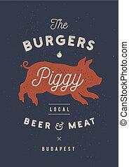 sticker, vlees, restaurant, ouderwetse , varken, etiket, poster, pork., piggy, logo