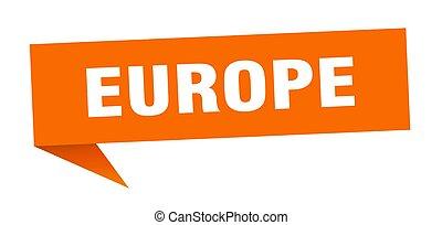 sticker., wijzer, sinaasappel, europa, meldingsbord, wegwijzer