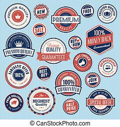 stickers, ouderwetse , set, etiketten