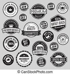 stickers, set, etiketten, verkoop