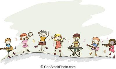 stickman, geitjes, muziek, spelend