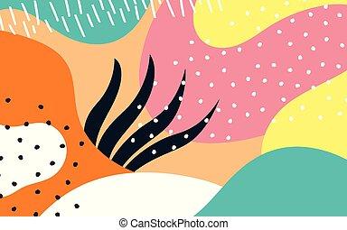 stijl, abstract, hand, achtergrond, getrokken, memphis, texturen