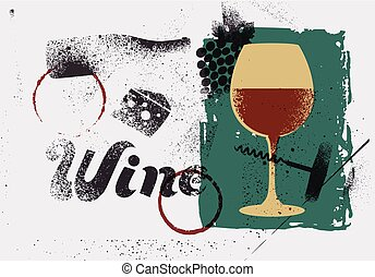 stijl, aftekenmal, grunge, illustration., ouderwetse , vector, retro, poster, typographical, wijntje, gespetter, design.