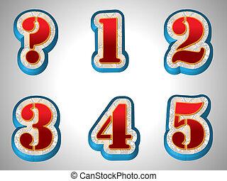 stijl, alfabet, groot, lettertype, rood, 3d