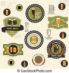 stijl, bier, etiketten, kentekens, ouderwetse