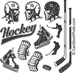 stijl, communie, ouderwetse , ontwerp, retro, hockey