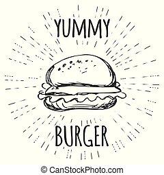 stijl, etiket, yummy, hamburger, sunburst., ouderwetse , hipster