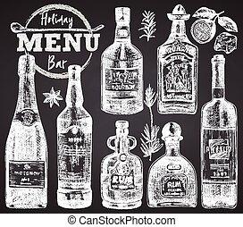 stijl, flessen, poster, krijt, tequila, restaurant, menu, ouderwetse , schets, getrokken, plank, bar, set, rum, spandoek, ontwerp, koffiehuis, wijntje, champangne, achtergrond, black , gravure, flyer, hand, whisky, kunst, grafisch