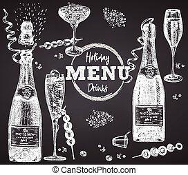 stijl, glas, flessen, poster, krijt, restaurant, menu, ouderwetse , schets, getrokken, plank, bar, set, spandoek, ontwerp, koffiehuis, wijntje, cocktail, champagne, achtergrond, black , wijntje, gravure, flyer, hand, kunst, grafisch