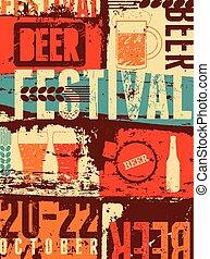 stijl, grunge, bier, straatfeest, ouderwetse