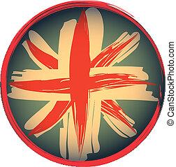 stijl, grunge, brits, embleem, vlag