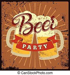 stijl, grunge, ouderwetse , pos, bier, feestje