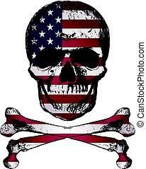 stijl, grunge, usa, schedel, ouderwetse , hand, vlag, getrokken, texture.