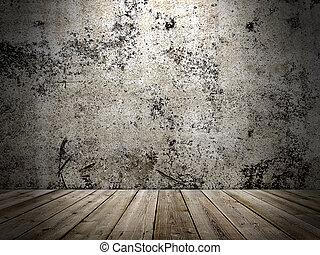 stijl, grunge, vloer, muur, beton, houten