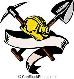 stijl, houtsnee, mijnwerker, vrijstaand, illustratie, boekrol, steenkool, gedaan, retro, pickax, hardhat, witte hoed, of, spade