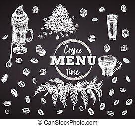 stijl, kop, boon, time., koffie liqueur, poster, ierse , krijt, restaurant, koffie, menu, mok, suiker, ouderwetse , getrokken, schets, plank, bar, spandoek, ontwerp, koffiehuis, achtergrond, black , gravure, flyer, hand, kunst, grafisch