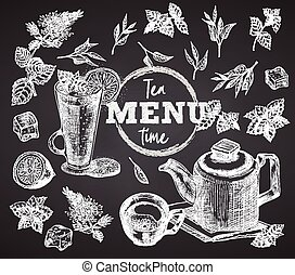 stijl, kop, time., citroen, munt, poster, krijt, restaurant, menu, mok, thee, ouderwetse , schets, getrokken, plank, bar, ijs, spandoek, ontwerp, koffiehuis, achtergrond, black , theepot, gravure, flyer, hand, kunst, grafisch