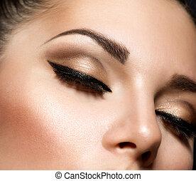 stijl, make-up, makeup., eyes, retro, oog, mooi