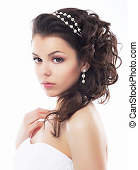 stijl, makeup, fiancee., -, jonge, gematigd, trouwfeest, kapsel