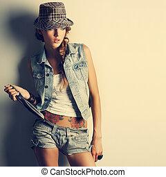 stijl, meisje, mode, mooi, foto