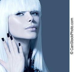 stijl, meisje, spijkers, haar, black , portrait., witte , model, mode