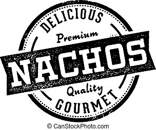 stijl, mexicaanse , postzegel, ouderwetse , menu, nachos