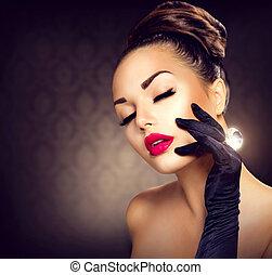 stijl, mode, beauty, ouderwetse , glamour, portrait., meisje