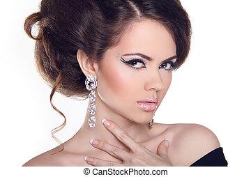 stijl, mode, girl., mode, kunst, woman., verticaal, hairstyle., mooi