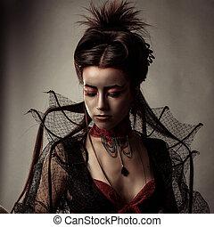 stijl, mode, gotisch, verticaal, model, meisje