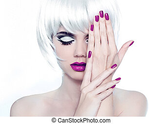 stijl, mode, pools, nails., beauty, vrouw, makeup, manicured, kort, hair., verticaal, witte