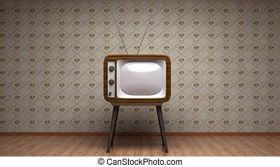 stijl, oud, tv, room., retro, colors.