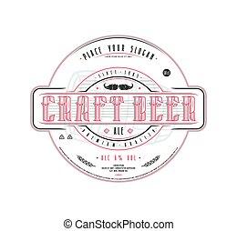 stijl, ouderwetse , etiket, bier, ambacht, mal