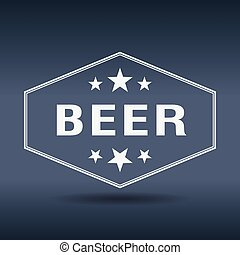 stijl, ouderwetse , etiket, bier, retro, witte , zeshoekig