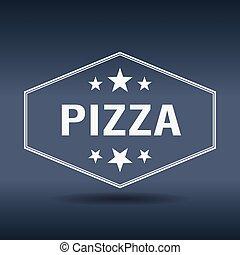 stijl, ouderwetse , etiket, retro, witte , zeshoekig, pizza