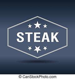 stijl, ouderwetse , etiket, retro, zeshoekig, biefstuk, witte