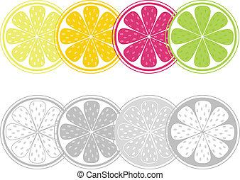 stijl, schijfen, citrus, vrijstaand, fruit, retro, witte